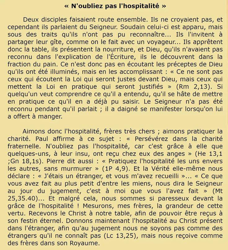 Troisième dimanche de Pâques  Commentaire du jour   Saint Grégoire le Grand (v. 540-604), pape et docteur de l'Église   Homélie 23 ; PL 76, 1182 (trad. Orval rev.)  « N'oubliez pas l'hospitalité »