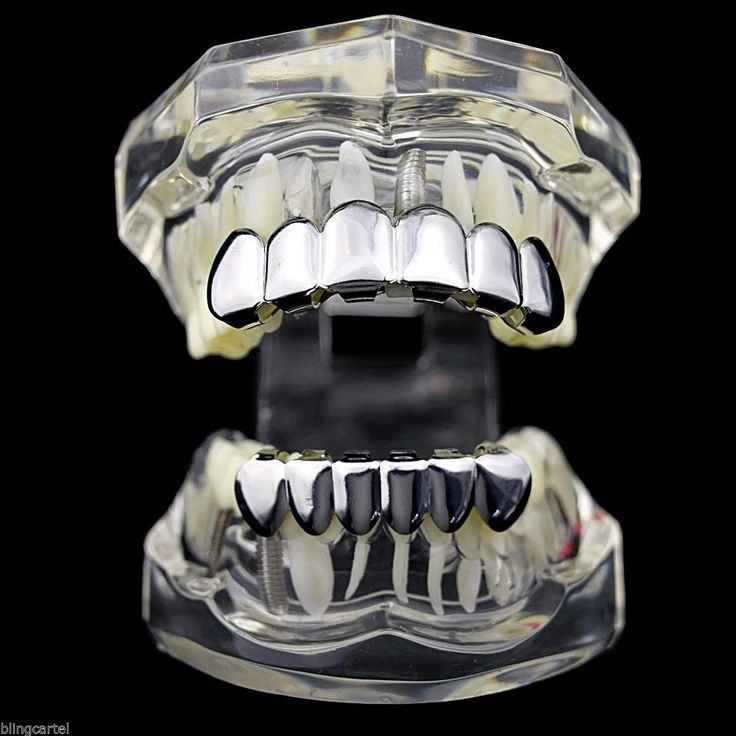Grillz Set Top And Bottom Silver Platinum Tone Tooth Bling Hip Hop Teeth Grills