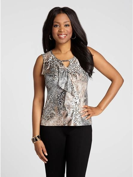 """Laura Petites: for women 5'4"""" and under. Go for the wow factor this holiday season with this stunning animal print top! Featuring eye-catching details like a foil-print finish and a metal-trimmed keyhole cutout, this gorgeous top will boost4030337-0476"""