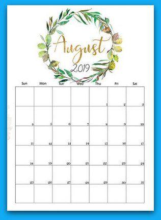 August 2019 Floral Printable Calendar 2019 Calendars Pinterest