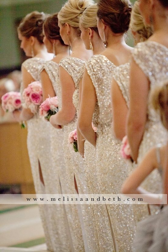 Beautiful sequined white bridesmaid dresses. The actual brides would wear real/or purple dresses.
