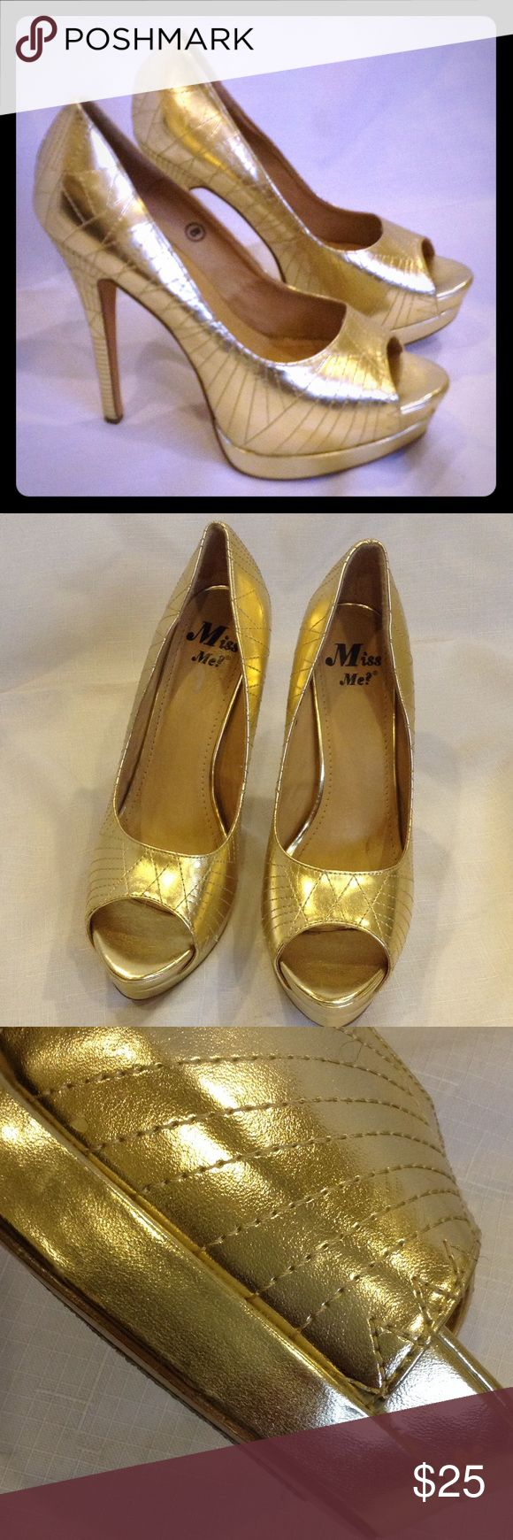 """Miss Me? Quilted Gold Stilettos Very good condition, quilted lame upper, 5.25"""" heel, two flaws on right shoe seen in third photo. Miss Me Shoes Heels"""