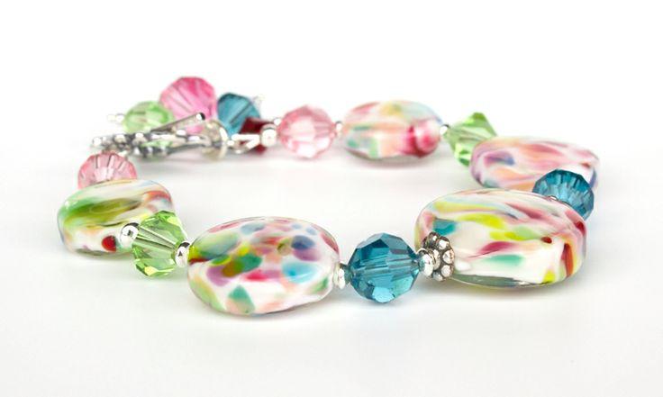 Kaleidoscope Lampwork Glass and Sterling Silver Bracelet | Felt