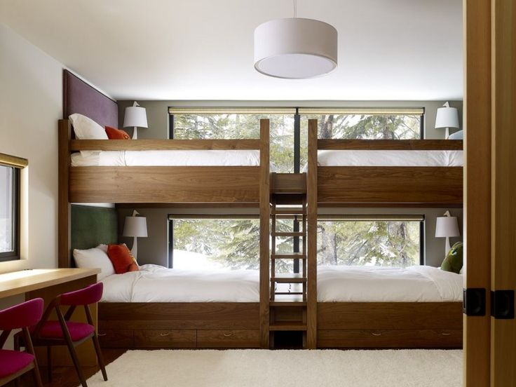 The Sugar Bowl Residence by John Maniscalco Architecture. I love the idea of a room full of bunk beds for a vacation home. Even more, I love the idea of double or queen sized bunk beds.