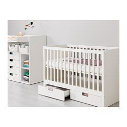 IKEA - STUVA, Cot with drawers, The cot base can be placed at two different heights.One cot side can be removed when the child is big enough to climb into/out of the cot.Your baby will sleep both safely and comfortably as the durable materials in the cot base have been tested to ensure they give their body the support it needs.The cot base is well ventilated for good air circulation which gives your child a pleasant sleeping climate.