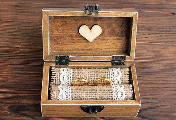 Trauring-Box! Ring Bearer Holzkiste eignet sich für Ihren ganz besonderen Tag -…