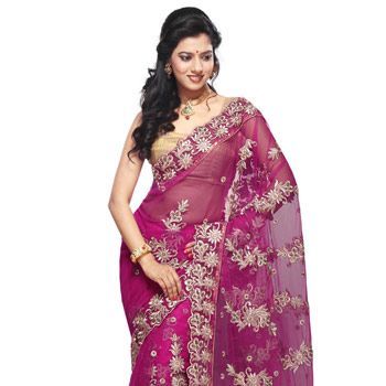 Fuchsia Net Saree with Blouse