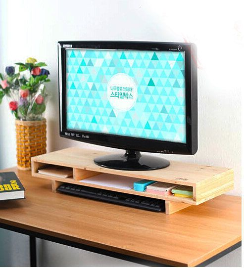 Adjustable Gemini Monitor Stand File Cabinet Wooded Office Desk