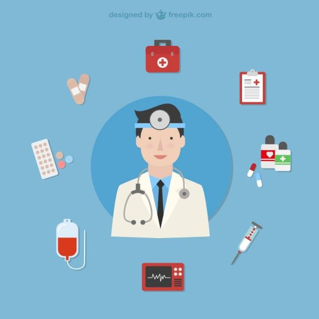 Doctor with medical icons Free Vector