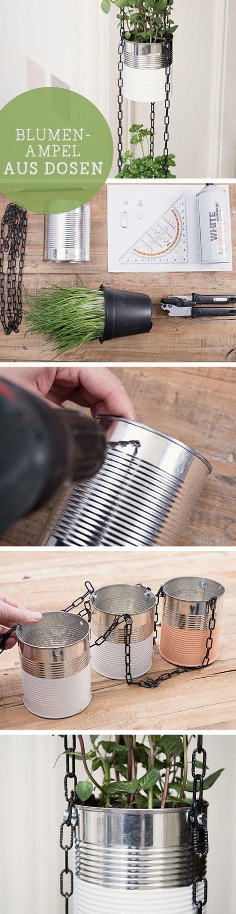 DIY-Anleitung: Hängende Blumenampel aus Dosen / upcycling diy tutorial: craft hanging planters with cans, kitchen decor via DaWanda.com