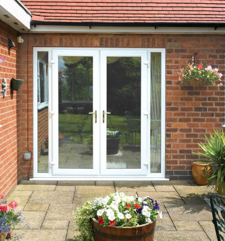 Exterior, Attractive And Stylish Exterior French Patio Doors: White Exterior  French Patio Doors With