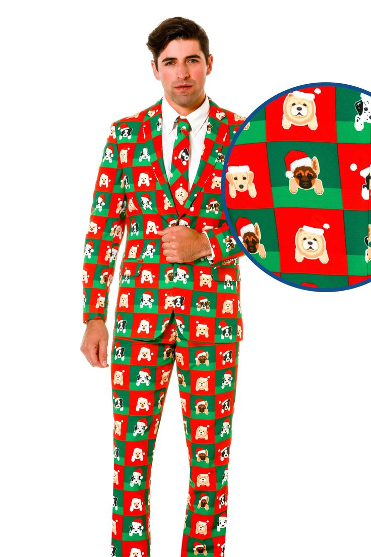 This is a puppy print ugly Christmas sweater suit. A dog patterned Christmas blazer, with puppy adorned suit pants. Christmas is for the dogs this year.
