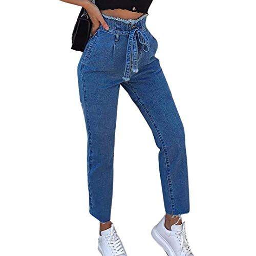 Donna Vita Alta Pantaloncini Jeans Pantaloni Larga Gamba Vintage Casual Retrò