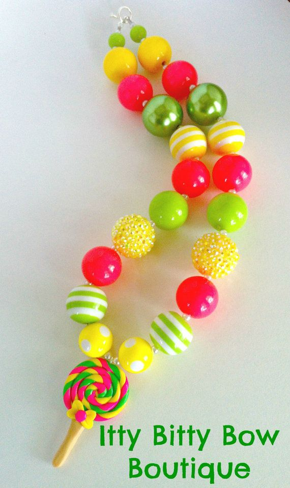 Lollipop Swirl Chunky Bead Necklace with matching clay Lollipop Pendant
