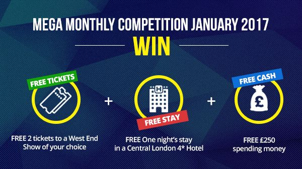 It's Competition Time! Jan 2017 Win 2 Free Tickets to a West End Show and One Night Stay at a London Hotel with Spending Money worth £250 at Theatre Tickets Direct https://goo.gl/55RQNB