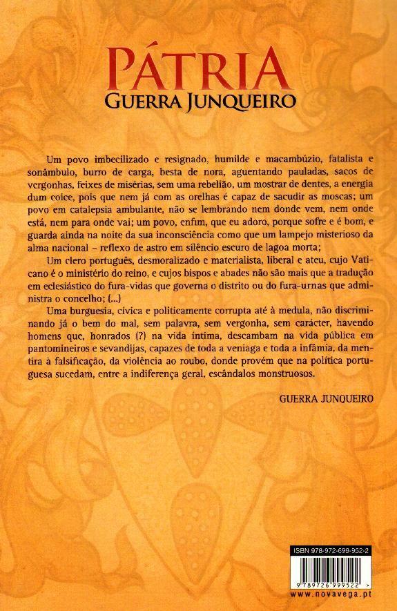 Pátria (contra capa) Editor: Vega Ano de edição: 2010 ISBN: 9789726999522