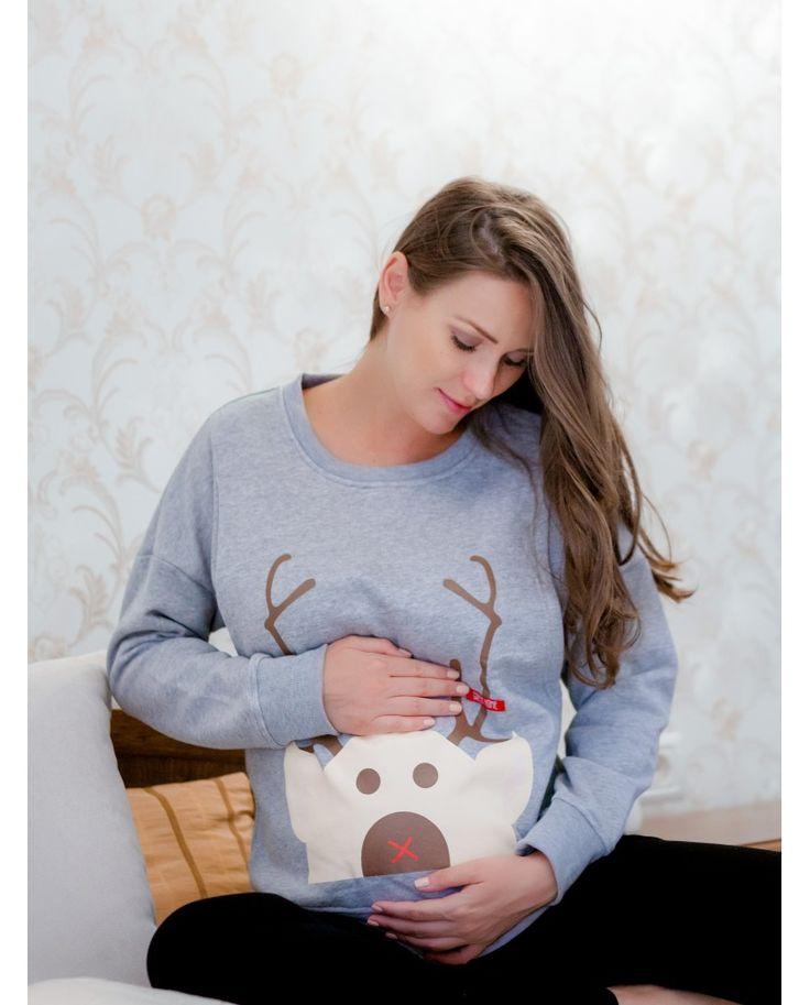 Silent Deer - Maternity & pregnancy funny blouse https://hotmama.ro/haine-gravide/bluza-silent-deer