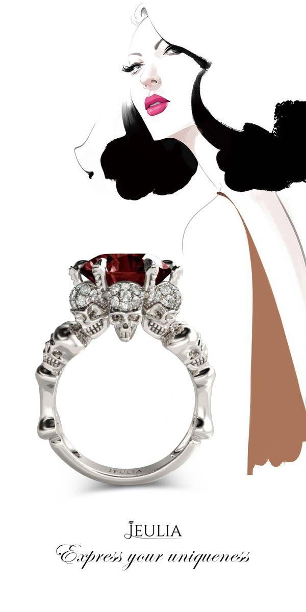 Jeulia Round Cut Created Garnet Four Skull Ring #jeulia