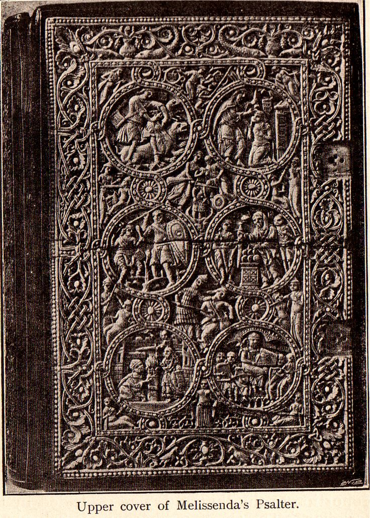 Melissenda's psalter, French binding, 12th c. - wooden covers with ivory carvings. British Museum.