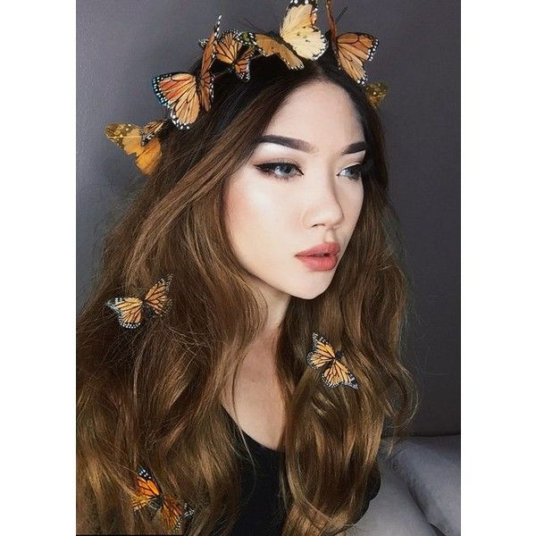 Sun Goddess Boho Butterfly Crown Flower Crown ❤ liked on Polyvore featuring accessories, hair accessories, bohemian hair accessories, floral garland, boho flower crown, butterfly garland and floral crowns