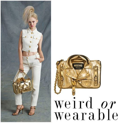 Moschino does it again! Always walking the fine line between 'cool' and 'crazy', their Resort 2015 collection was no different!   Would you be brave enough to rock this very gold 'Leather jacket' bag?