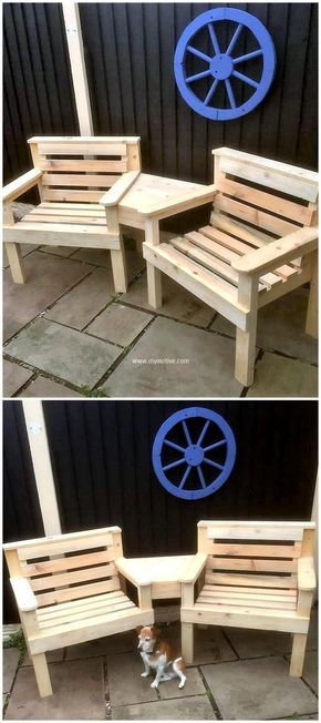 recycled wooden pallets dual chairs