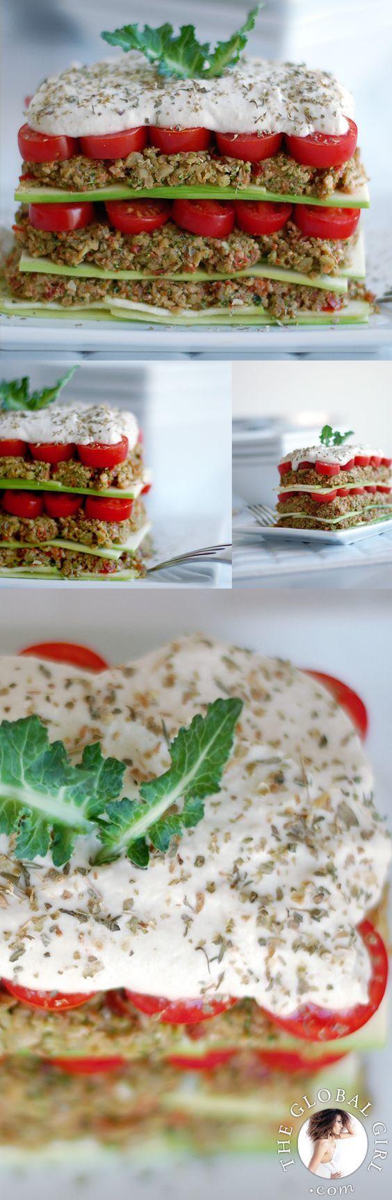 Raw Vegan Lasagna with hearty pumpkin pesto form 'A Week's Worth of Raw Italian with Ndoema'. 100% Raw. Vegan. Gluten Free & Guilt Free ;))