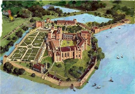 Reconstruction drawing of Kenilworth Castle in the 16th c. when it was at its most grand. At this time the castle was the home of the Earl of Leicester, a favorite of Elizabeth I. This property is now in the care of English Heritage; tours are available