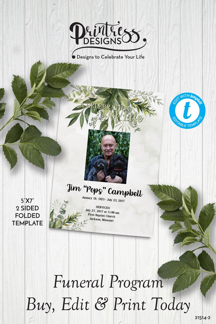 Elegant greenery funeral program template greenery