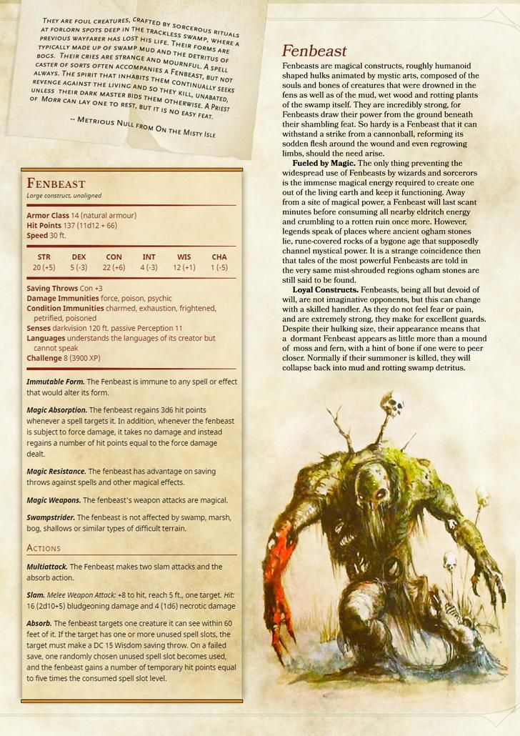 DnD Homebrew Monster Page - Fenbeast (With images