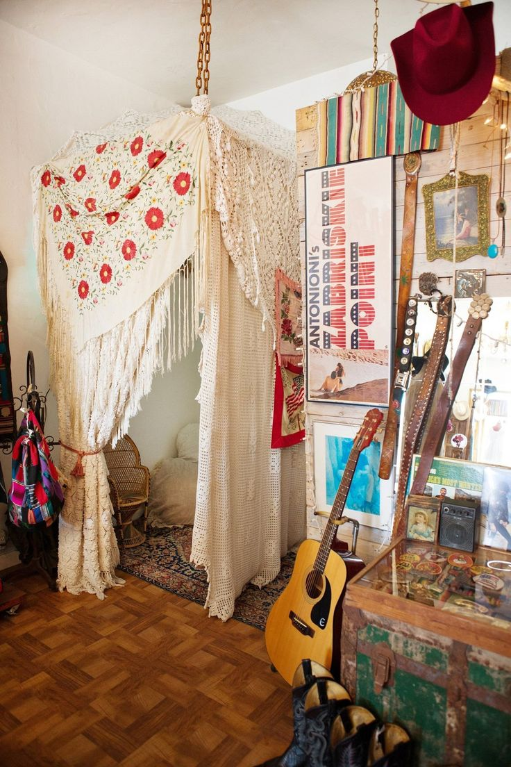 Honeywood Boutique and Workspace- love the laid back appearance with guitar displayed