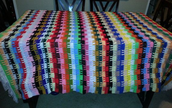 Vintage crochet stripe afghan, fptr stitches. More