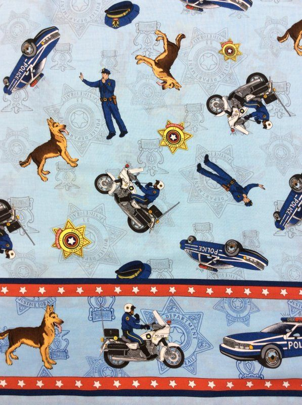 Police Officer Police Dog K9  Motorcycle Badge Cops Cotton Fabric Quilt Fabric MD02