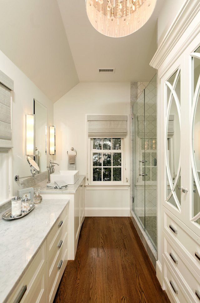 Glam Long Narrow Bathroom Love The Kraftmaid Kitchen Cabinets On The Right