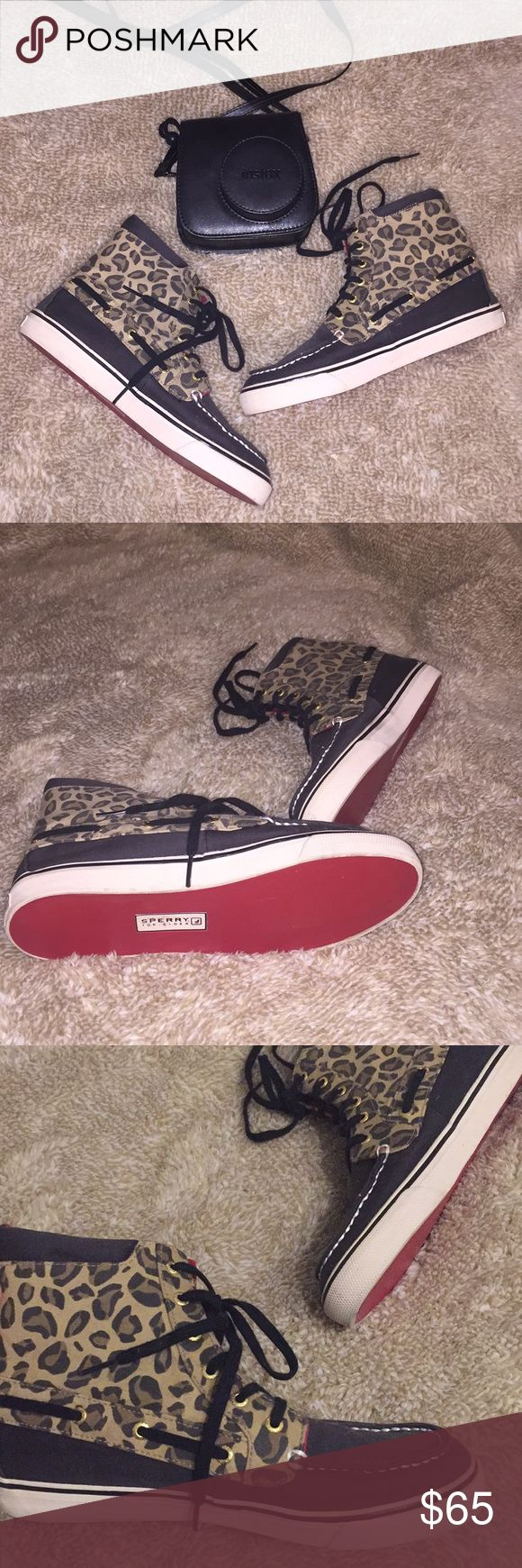 SPERRY HIGH TOPS❤️ Like new, worn minimally cheetah sperry high tops with red bottoms and inside :) Sperry Top-Sider Shoes Sneakers