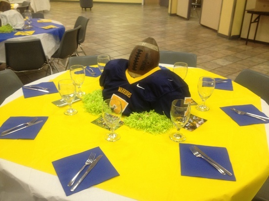 Sports themed graduation party sports theme graduation for Athletic banquet decoration ideas