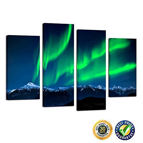 Kreative Arts- 4 Piece Multi Panel Northern Light Aurora Wall Canvas Art High Quality Modern Canvas Print Room Decoration Wall Painting Ready to Hang