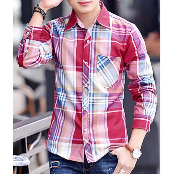 Slimming Trendy Shirt Collar One Pocket Irregular Checked Design Long Sleeve Cotton Blend Shirt For Men can be bought from Rose WholeSale Online Store with Promo Codes and Coupons.