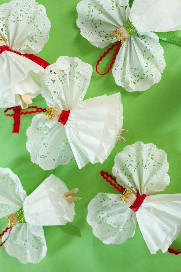DIY:: Clothespins Angels Ornaments ~  Supplies:  •Clothespin •2 White 8-12 cup coffee filters •6 inch doilies •6 inches 3/8 inch ribbon •6 inches Cording •1 inch wired gold ribbon •Glue (white glue or hot glue).  How To @: http://www.designdazzle.com/2013/11/kid-craft-angel-ornaments/