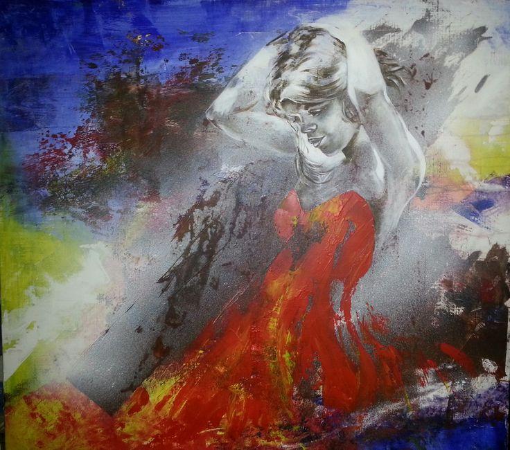 Marij Hendrickx. Harten vrouw. Vrouw wat midden in een chaos rustig haar haren fatsoeneert. In haar rode jurk kun je een hart ontdekken.
