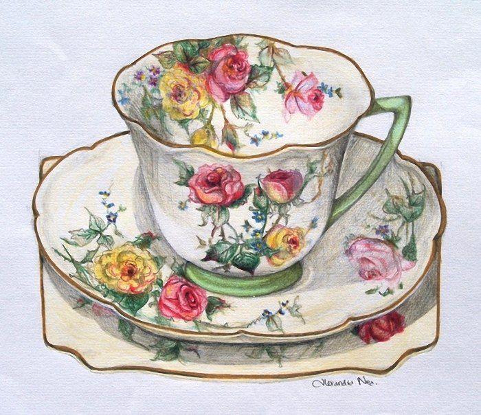 картинки для декупажа чашка с чаем традиции