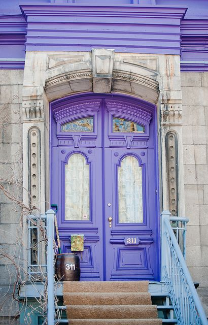 #Purple #Doors Vintage Architecture, Montreal, #Quebec, Canada Photo by Ronald Santerre
