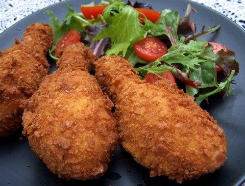 Rántott csirke fűszeres joghurtban pácolva,sütőben sütve
