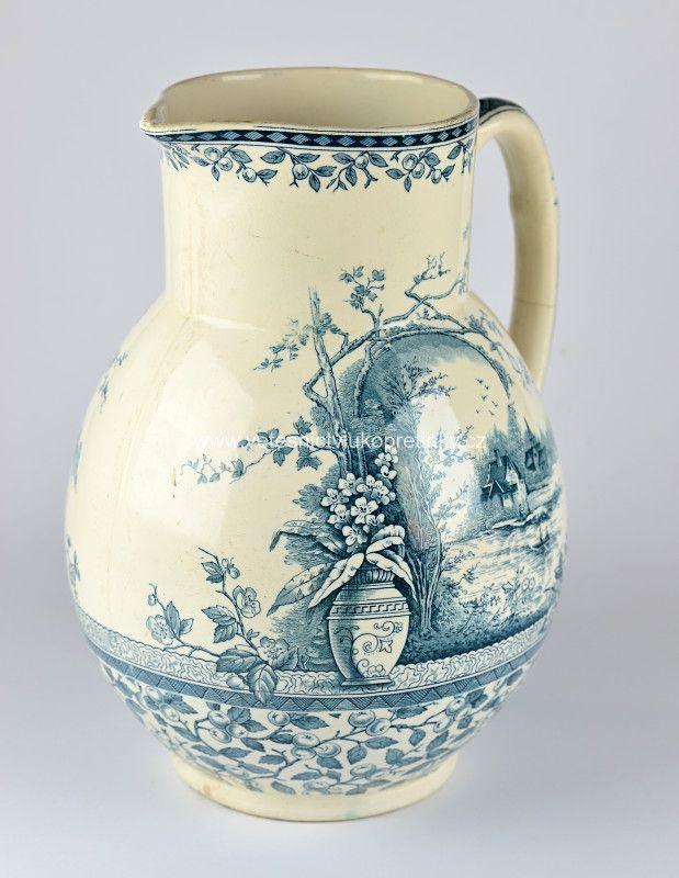 Krásný starožitný porcelánový džbán, kresba nepoškozena, dno popraskané, Anglický porcelán.