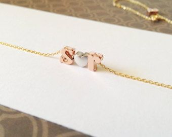 Initial Bangle Bracelet Lowercase Letter Gold от TomDesign