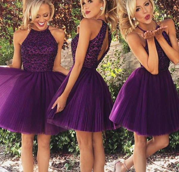 Exquisite Jewel Sleeveless Short Purple Homecoming Dress with Beading Open Back,Cute prom dress
