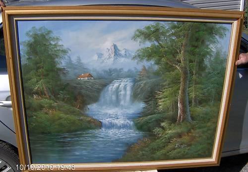 Oil Painting By R Danford Waterfall Landscape Ebay