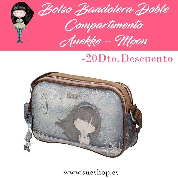 """Bolso Bandolera Doble Compartimento Anekke de la colección """"Moon"""", con 2 compartimentos principales con cremallera, varios bolsillos interiores y un bolsillo exterior en la parte trasera, también con cierre de cremallera.Con correa regulable para llevar el bolso colgado al hombro o bien en bandolera. @sueshop_es #anekke #bolso #bandolera #muñeca #complementos #oferta #descuento #sueshop"""
