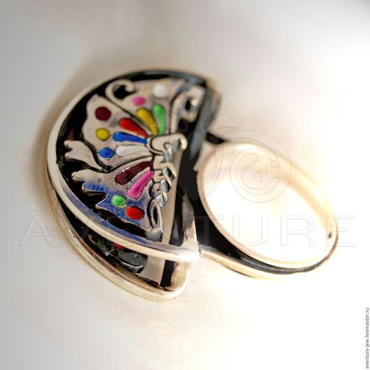 Кольца ручной работы. Кольцо серебро и эмали Бабочка. Aventure. Интернет-магазин Ярмарка Мастеров. Авторское украшение, серебро