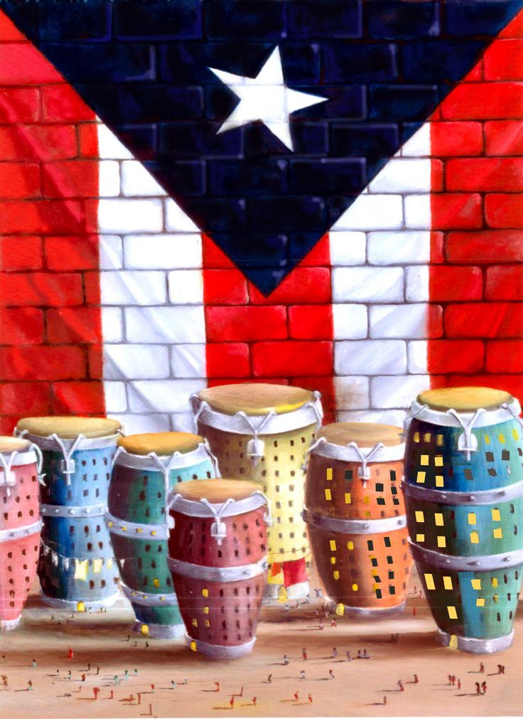 Puerto Rico Flag and congas one